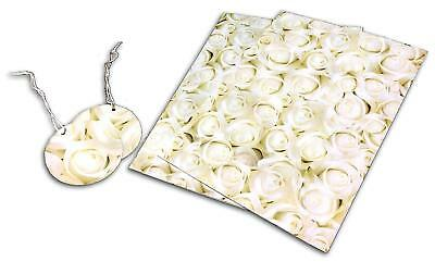 2 Sheets Gift Wrapping Paper and 2 Gift Tags Set Cream/Gold Roses Designs NEW
