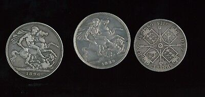 ( Hkpnc ) #k Gb Uk Early Silver Coin 1889-1896 X3