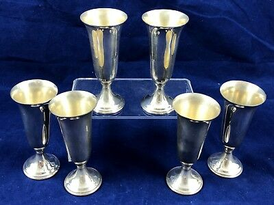 Set Of Six American Watrous Sterling Silver Shot Vodka Or Cordial Goblets