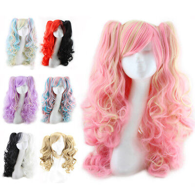 Fashion Women Long Full Curly Wigs Pigtails Lolita Wavy Hair Cosplay Anime Wig