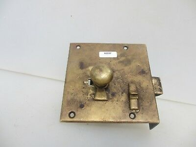 Victorian Brass Door Lock Antique Bathroom Bolt Vintage Old Georgian (NO KEY)
