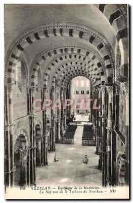 VINTAGE POSTCARD Vezelay Basilica of the Madeleine the Nave seen of the Platform