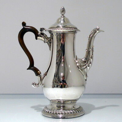 Mid 18th Century Antique George III Sterling Silver Coffee Pot London 1768