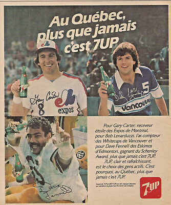 1980 Gary Carter Of The Montreal Expos & Dave Tennell 7-Up Original Ad In French
