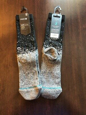 """STANCE """"Spek"""" Classic Crew Combed Cotton Reflective Socks Size Large (9-12)"""