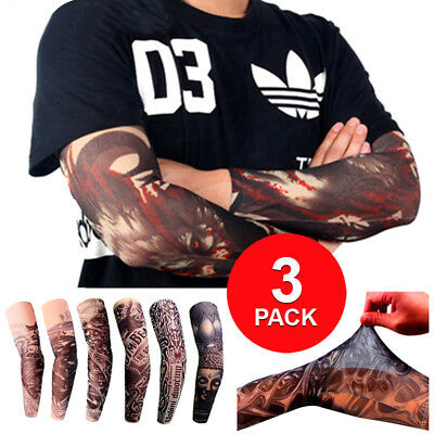 3-Pack Nylon Tatoo Arm Stockings Cover Elastic Fake Temporary Tattoo Sleeves