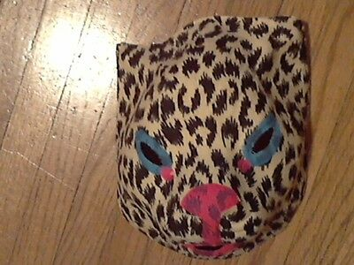 Halloween mask vintage 40s-50s cheesecloth gauze Leopard Cheeta  Soft FlockedNew