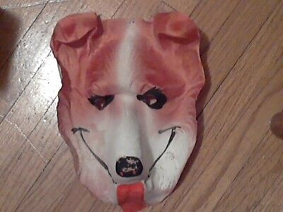 Halloween mask vintage 40s-50s cheesecloth gauze LASSIE bright colors New