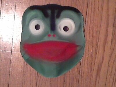 Halloween mask vintage 40s-50s cheesecloth gauze FROG satin finish bright colors