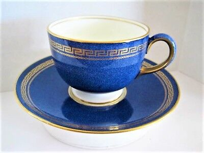 RARE ANTIQUE England Wedgwood Blue Textured Gilt Greek Key Cup and Saucer