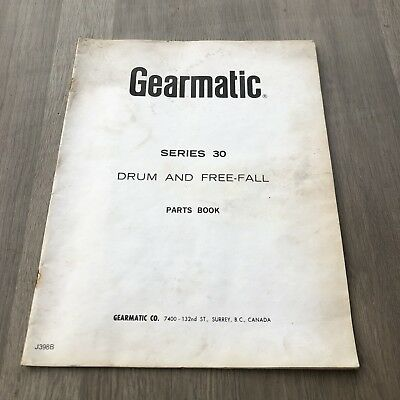 Gearmatic Model 30 Hydraulic Winch  Drum With Free Fall Parts Manual Incvat