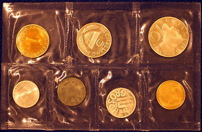 AUSTRIA 7-COIN PROOF SET 1964 SEALED IN PLASTIC Including 2 SILVER COINS