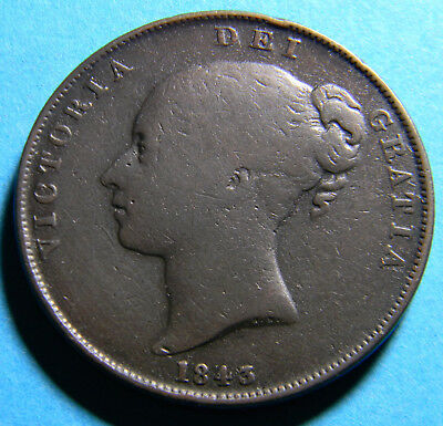 Uk Great Britain 1843 1 Penny - Victoria RARE NO COLON KM# 739 (R266)