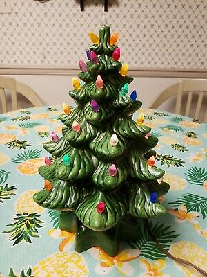 13 inch 2 piece green ceramic Christmas tree with multicolored lights