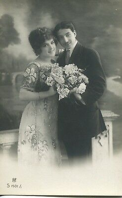 Vintage Antique RPPC of Adorable Italian Couple Woman and Man 1900s