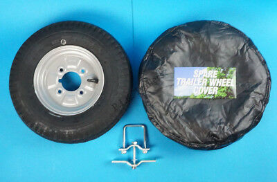 "8"" Tyre & SILVER Rim 400 x 8 on 4"" PCD with Spare Wheel Holder & Cover - Trailer"