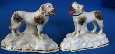 Antique Pair of Continental Porcelain Dogs Gold Anchor Mark Samson