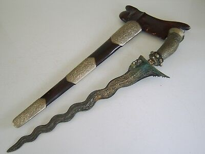 Very Large Old Fine Quality Antique Kris Dagger With Gold Decoration