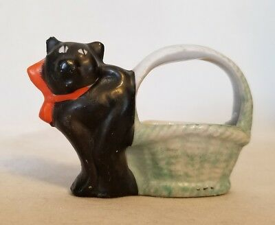 Antique Halloween Bisque Candy Container - Black Cat with Basket - Japan