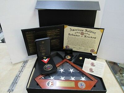 Us Army National Guard Commemorative Honor Set Medal Challenge Coin Flag & Lapel