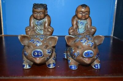 pair antique Japanese porcelain figure with mark 19th century