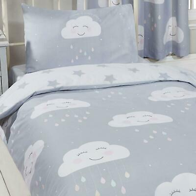 Happy Clouds & Stars Single Duvet Cover Set Reversible Kids Bedding