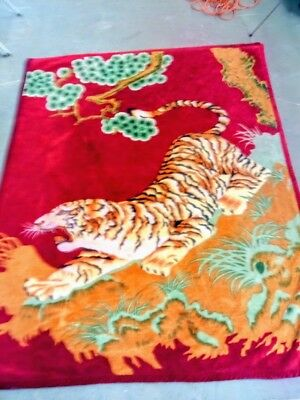 Large 6 Foot x 7.5 Foot Thick Stalking Tiger Throw Blanket Two Sides Diff Image