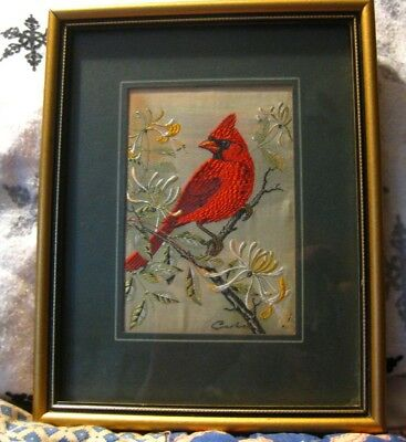 Vintage Cash's of Coventry CARDINAL~Woven Silk~Matted in Frame~SIMPLY BEAUTIFUL!