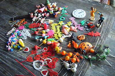 Vintage Huge Lot Halloween Easter Christmas Valentines Cake Decoration Picks Pic