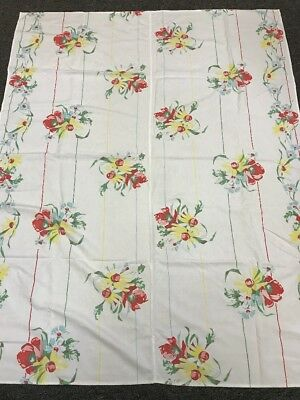 """Vintage Painted Canvas Tablecloth Daisies Red and Blue Flowers 45"""" x 58"""""""