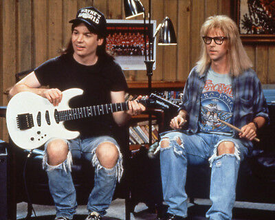 1992 WAYNE'S WORLD w/ Mike Myers & Dana Carvey Glossy 8x10 Photo Print Poster