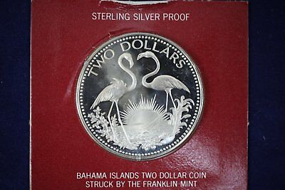 Coins: World Un047 1974 Bahamas One Dollars Silver Proof Coin