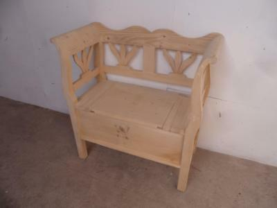 A Really Pretty 1 Seater Reclaimed Pine Hall Box Settle/Bench to Wax/Paint