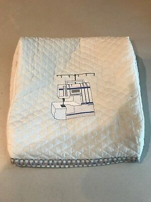 Serger Machine Dust Cover, Quilted, Fully Lined with Machine Embroidery