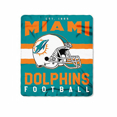 NEW NFL MIAMI Dolphins Helmet Logo Soft Fleece Throw Blanket 40 X Simple Miami Dolphins Plush Fleece Throw Blanket