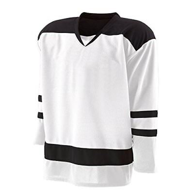 d880be944 Holloway Adult Faceoff Hockey Jersey Mens-White Black Small