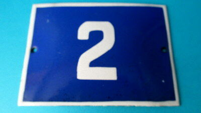 Old Vintage Door Home/House Blue Porcelain Enamel Number 2 Tin Sign Plate