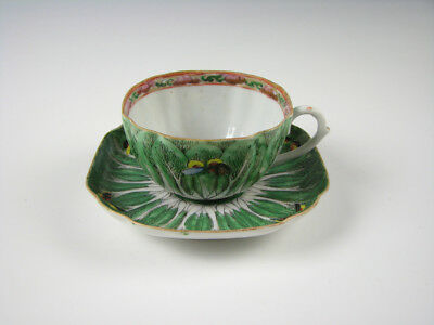 Chinese Export Porcelain Cabbage Leaf Butterfly Cup & Saucer