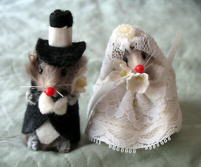 Vintage Original Fur Toys W. Germany Bride & Groom Mice Mouse