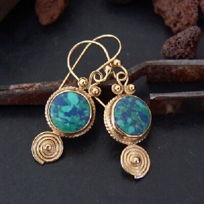 925k Silver Roman Art Handmade Turquoise Earrings Omer 24k Gold Plated