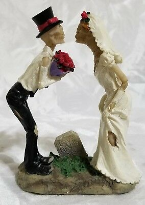 Till Death Skeleton Wedding Couple Bride and Groom Day of the Dead Figurine New
