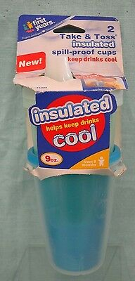 First YEARS Take Toss INSULATED SPILL Proof Sippy Cups 9+ Mths 2 Pack 9 oz BLUE