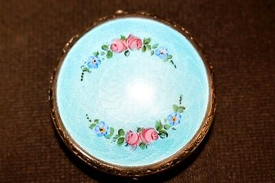 Art Deco Sterling Silver & Blue With Garland Guilloche Enamel Powder Compact