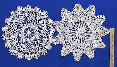 Doily Doilies White Cotton Round Pineapple Hand Crochet Vintage Lot of 2