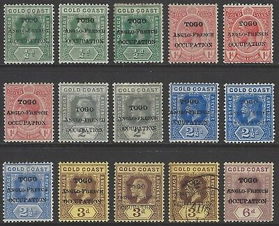 TOGO 1915-1916 BRITISH OCCUPATION collection early stamps w/ listed VARIETIES