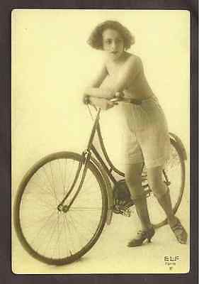 Nudes Toples Woman, Vintage Bike, ELF Paris, Postcard, Carte Postale