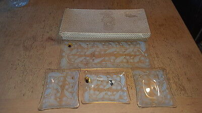 Chance Glass Calypto Plate Set By Michael Harris 1959, Leaf & Flower Boxed