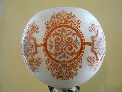 Antique Deep Acid Etched Cut Glass Ball Shade For Newel Post Lamp,Gas Chandelier