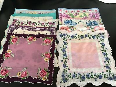 Vintage Hankies Floral Patterned Lot of 10 Beautiful Colorful Handkerchiefs