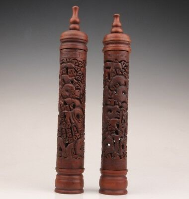 2 Rare Boxwood Incense Tube Statue Old Hand-Carved Dragons Sacred